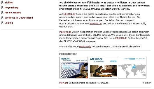 SPIEGEL ONLINE und merian.de - a winning team