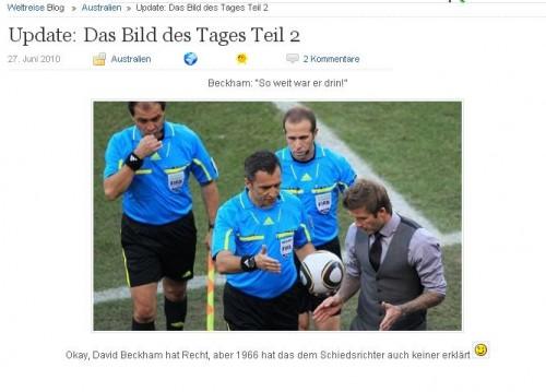 Das Wembley Tor 2010 entzweit auch Beckham. Doch ob er über das Tor Deutschland gegen England philosophiert hat, weiß man nicht so genau