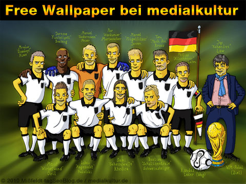 Martin Mißfeldt hat ein Simpson Wallpaper zur WM 2010 gebastelt: die deutsche Nationalelf frei zum Download