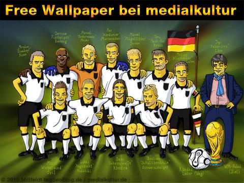 Martin Mißfeldt hat ein Simpson Wallpaper zur WM 2010 gebastelt: die deutsche Nationalelf frei zum Download