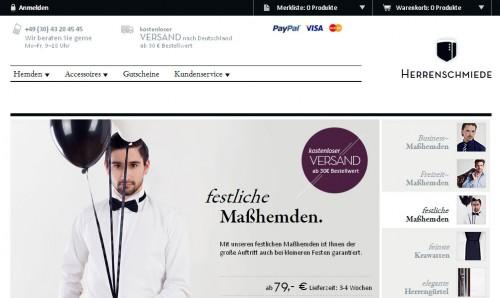 Ein schönes Design wie beim Herrenausstatter www.herrenschmiede.de sorgt für mehr Umsatz