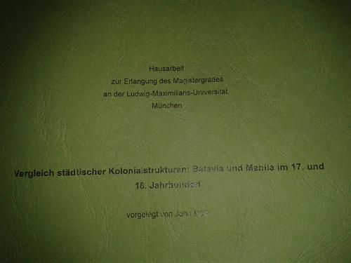 Magisterarbeit zum Studienabschluss