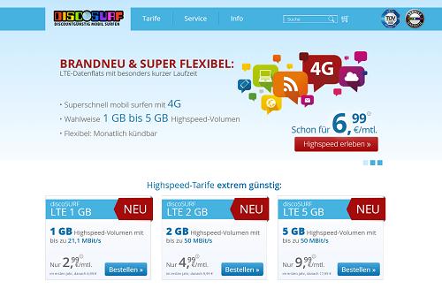 prepaid LTE Internet mit discoSURF
